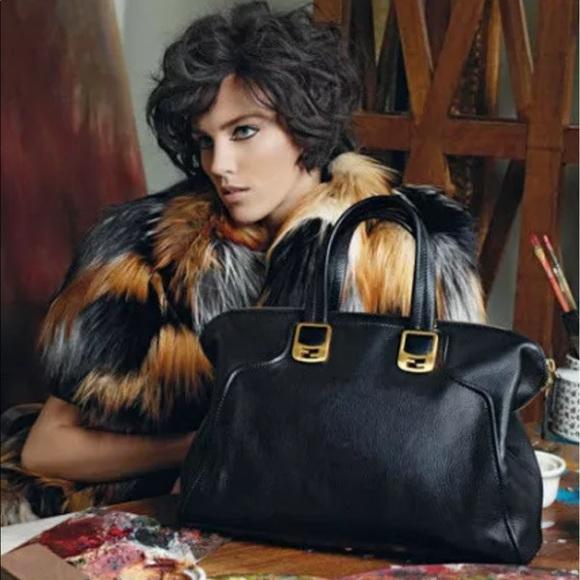 Fendi Handbags - Fendi Chameleon Black Leather Zip Top 2 Way Bag